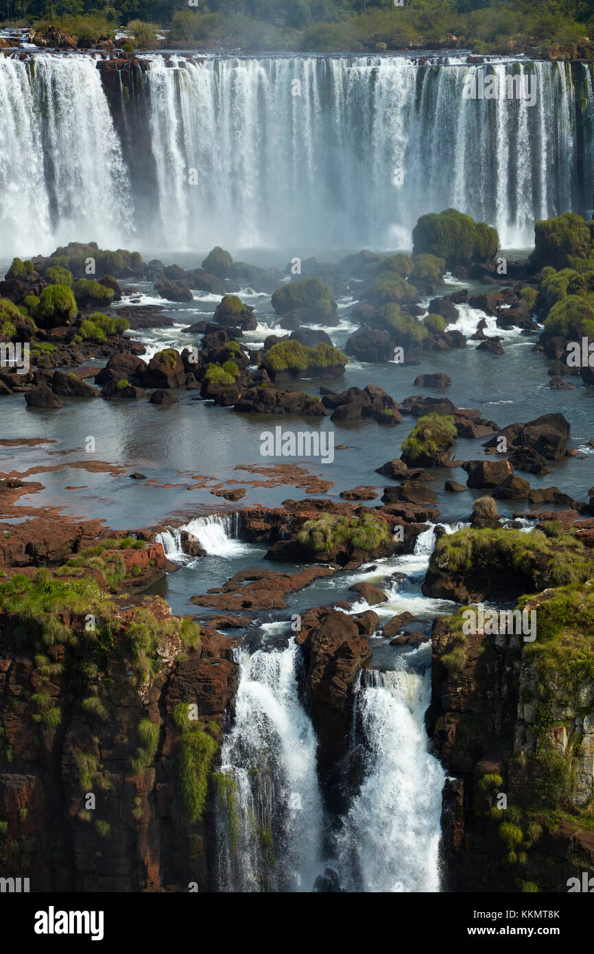 Salto Rivadavia and Salto Tres Musqueteros, Iguazu Falls, Argentina, seen from Brazil side, South America Stock Photo