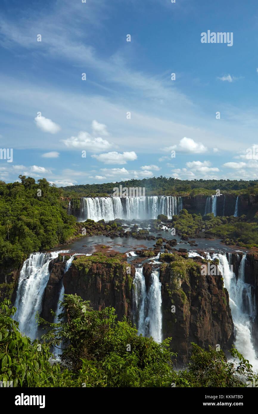 Salto Rivadavia and Salto Tres Musqueteros, Iguazu Falls, Argentina, seen from Brazil side, South America Stock Photo