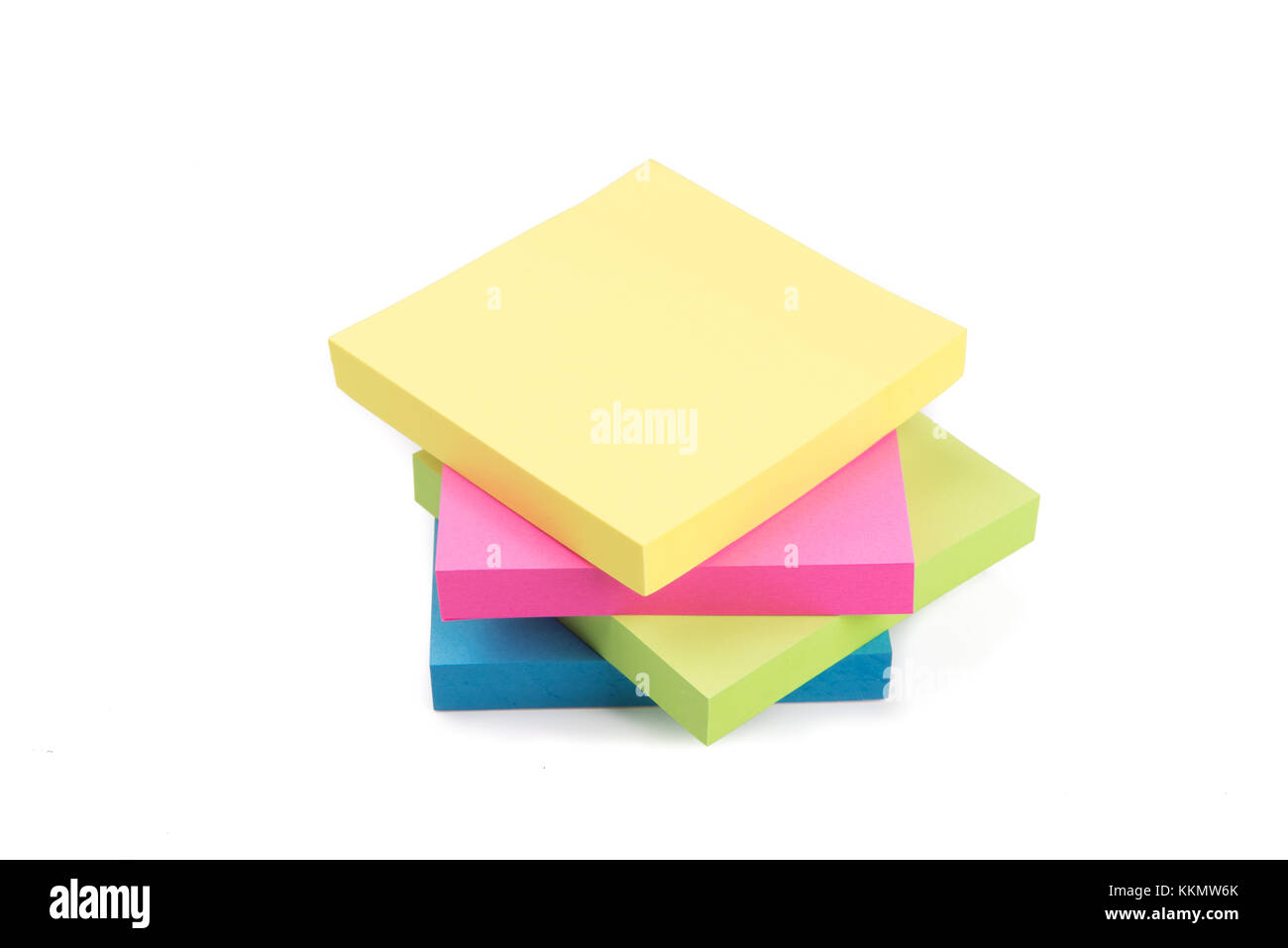 Blank Colorful Sticky Notes isolated on white background - Stock Image