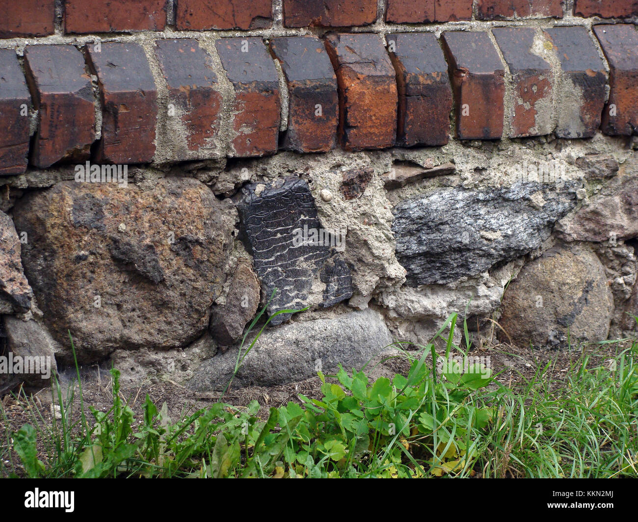 Retro Stone Foundation Of Red Brick House Close Up Stock Photo Alamy