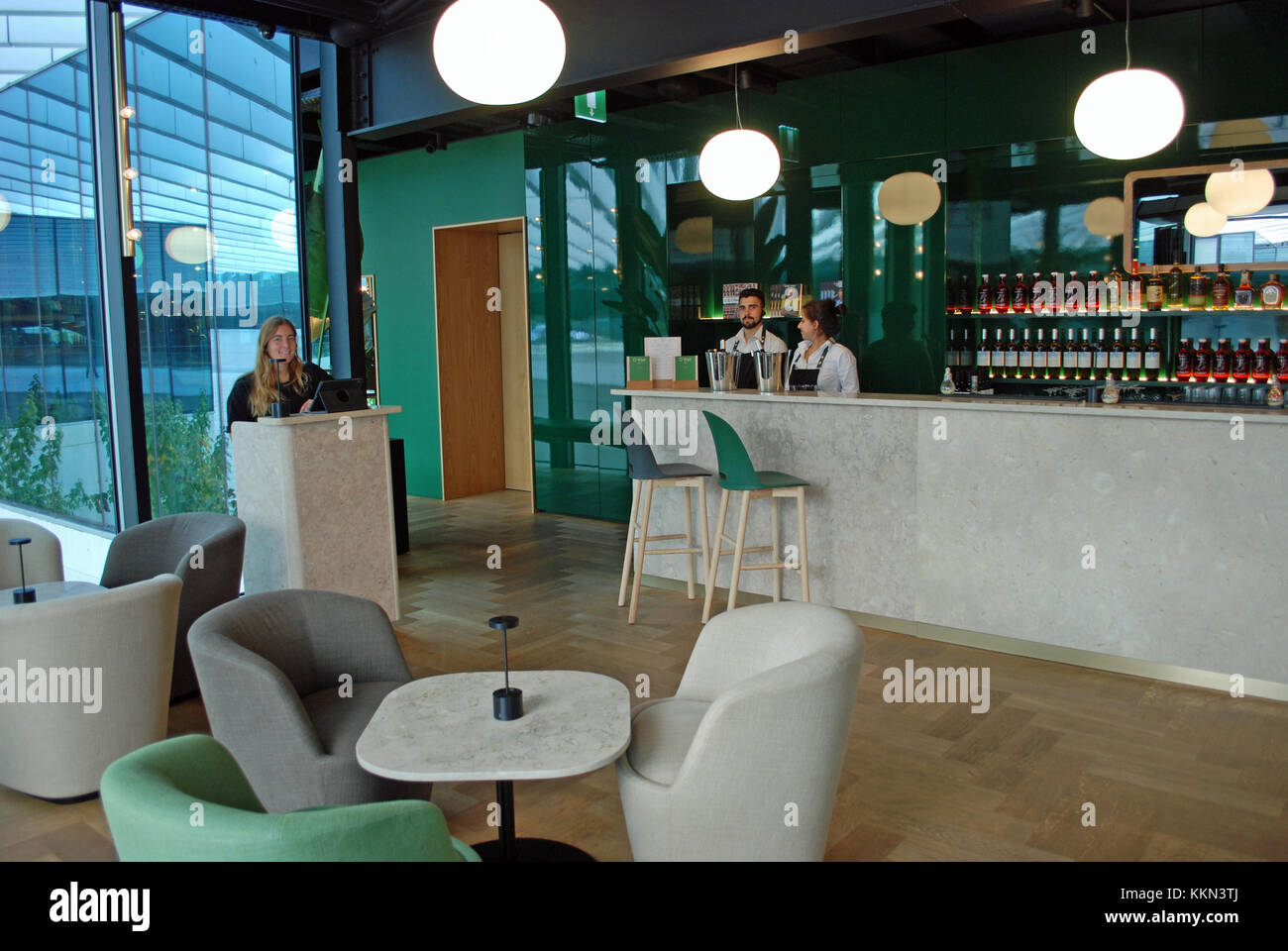Interior of O Watt restaurant, one of Lisbon's newest fine dining establishments located in EDP building in - Stock Image