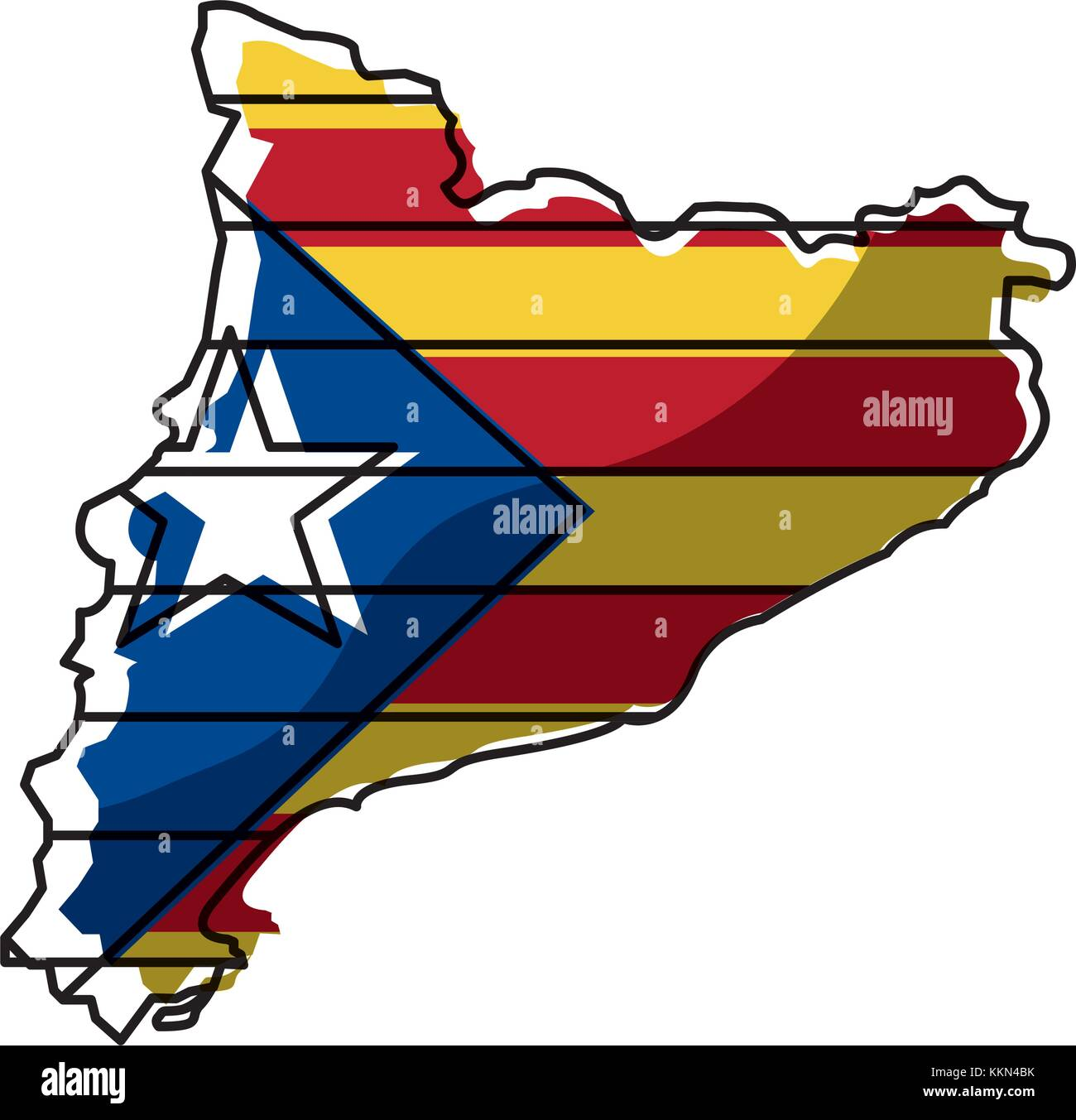 map of catalonia and flag patriotism independence - Stock Image