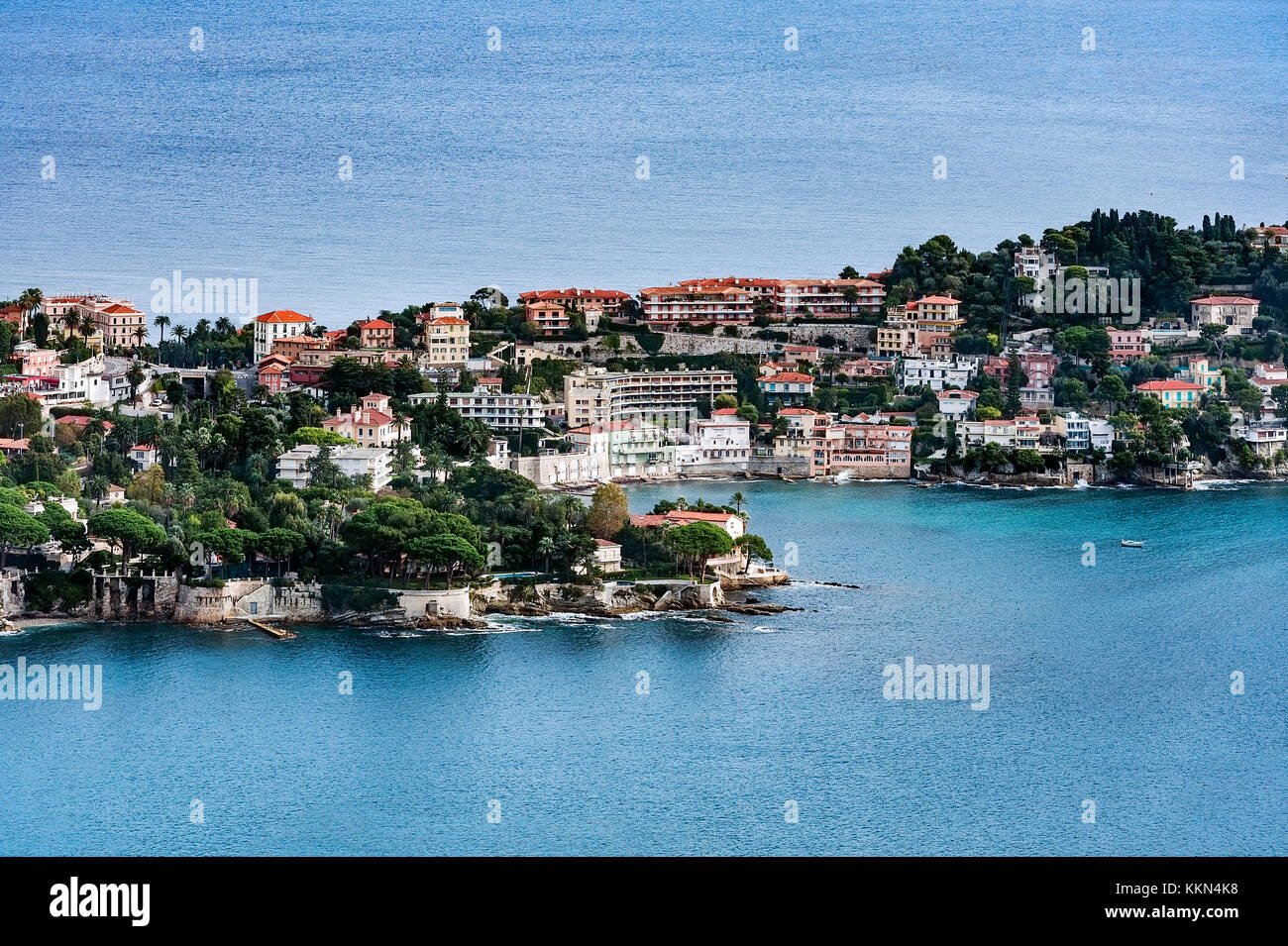 Aerial view of the French commune of Saint Jean Cap Ferrat, French Riviera, Côte d'Azur, France, Europe. - Stock Image