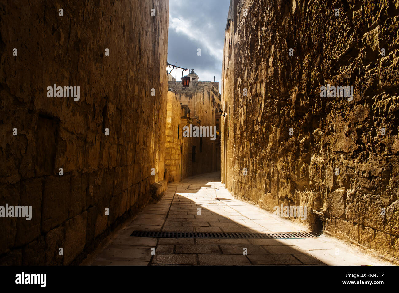 A typical and historic road in Mdina, Malta - Stock Image