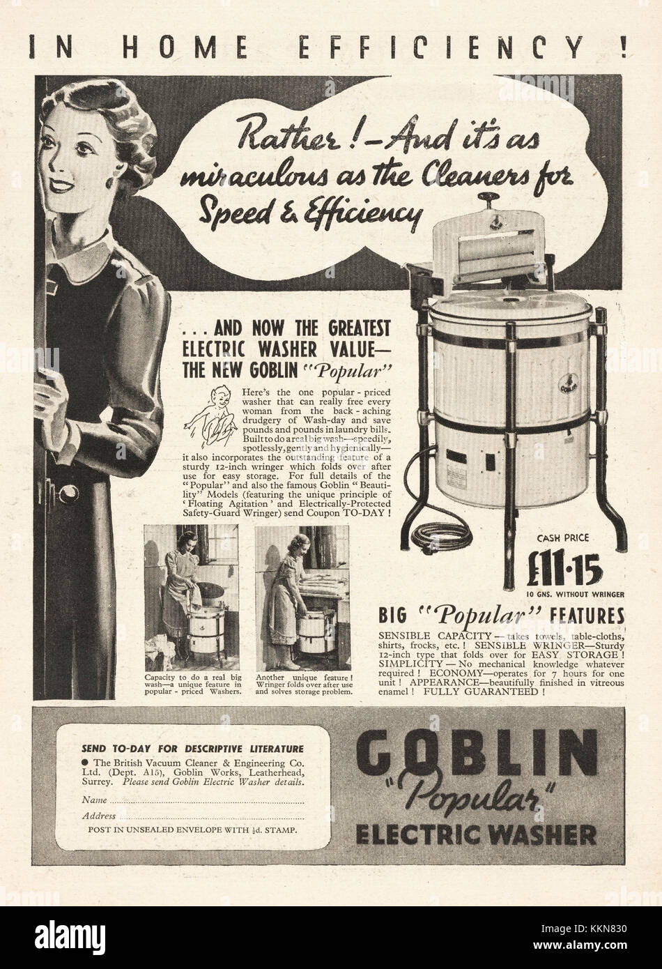 1938 UK Magazine Goblin Washing Machine Ad
