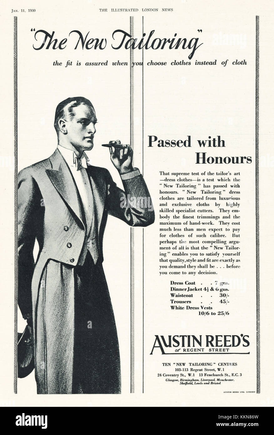 1930 Uk Magazine Austin Reed Advert Stock Photo Alamy