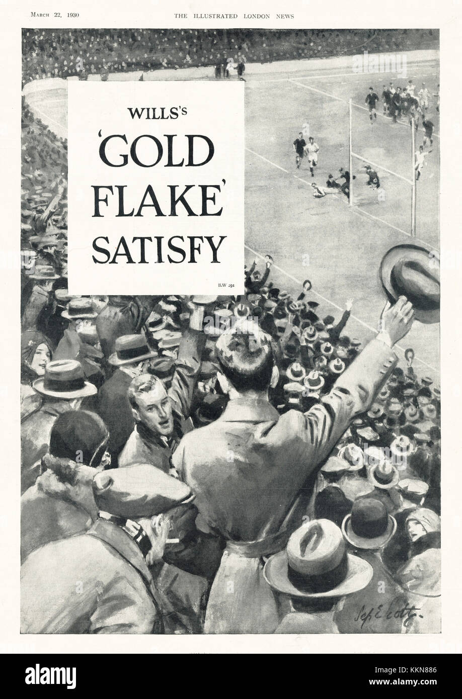 1930 UK Magazine Gold Flake Cigarette Advert - Stock Image