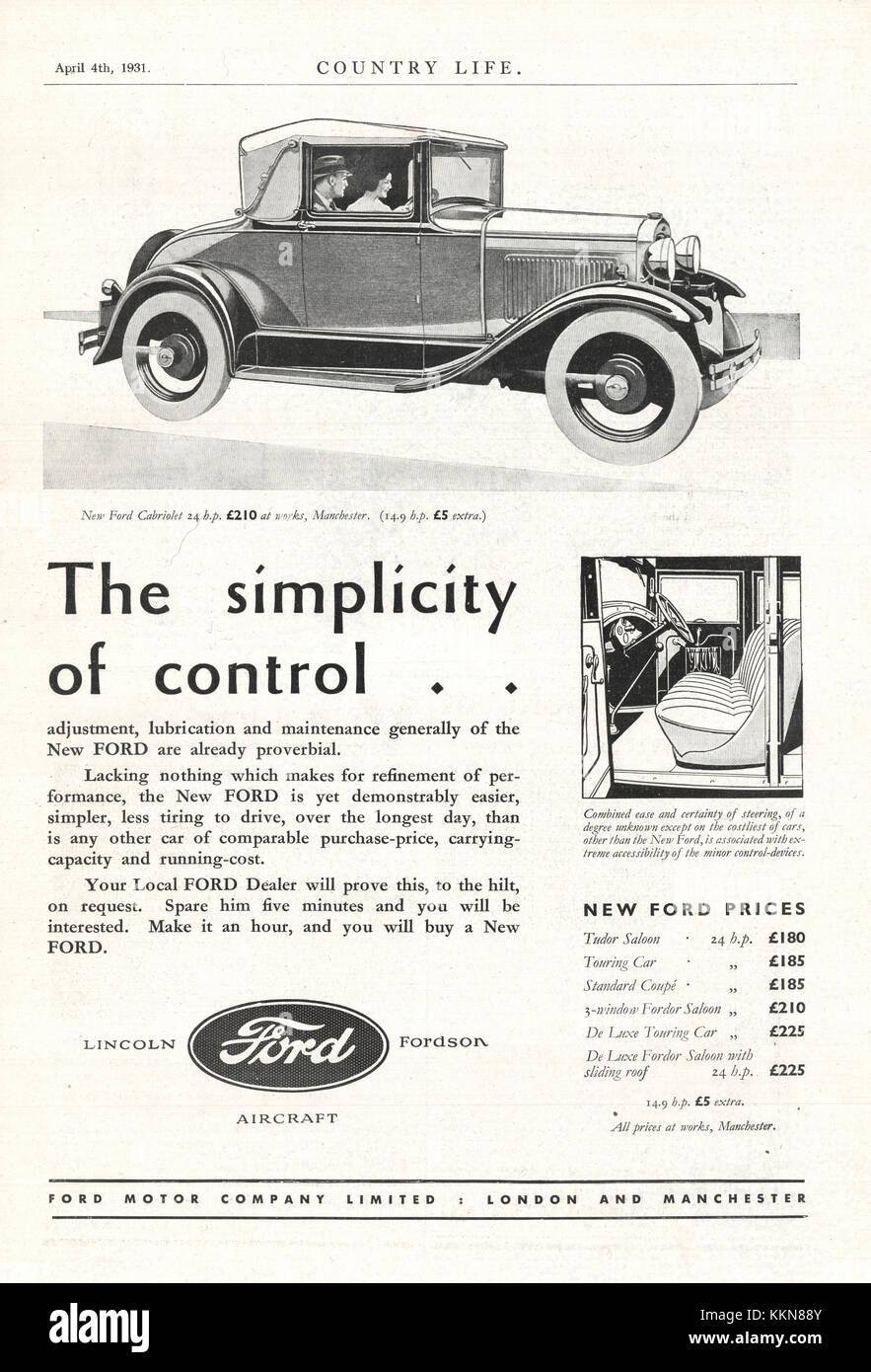 1931 UK Magazine Ford Car Advert - Stock Image