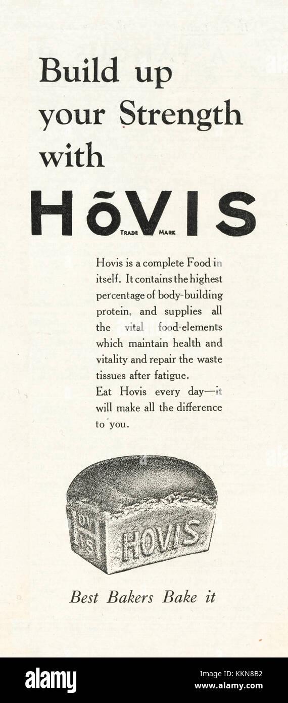 1933 UK Magazine Hovis Bread Advert - Stock Image