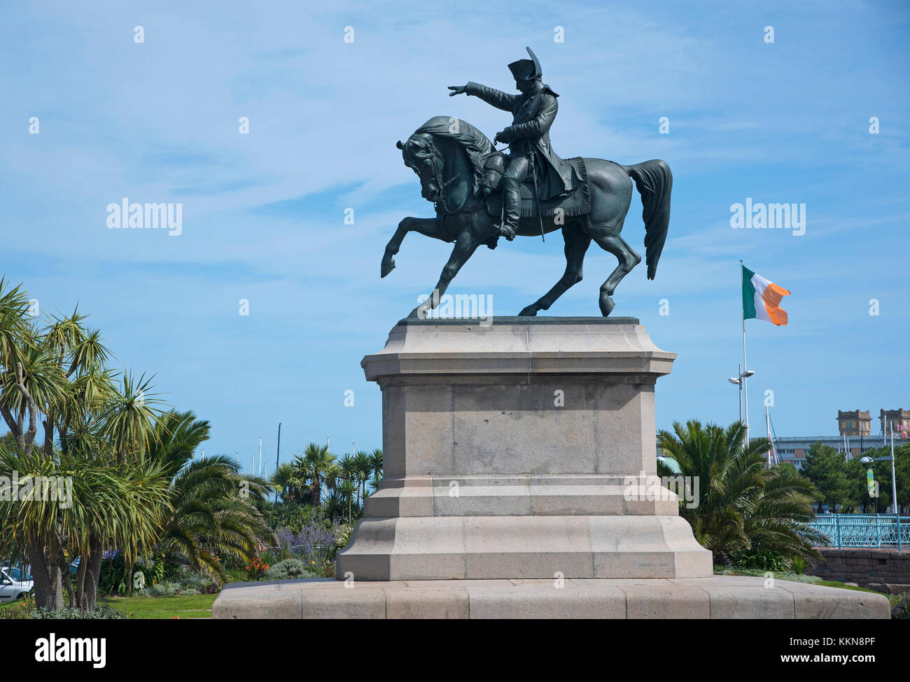 Equestrian statue of Napoleon, in Cherbourg, France - Stock Image