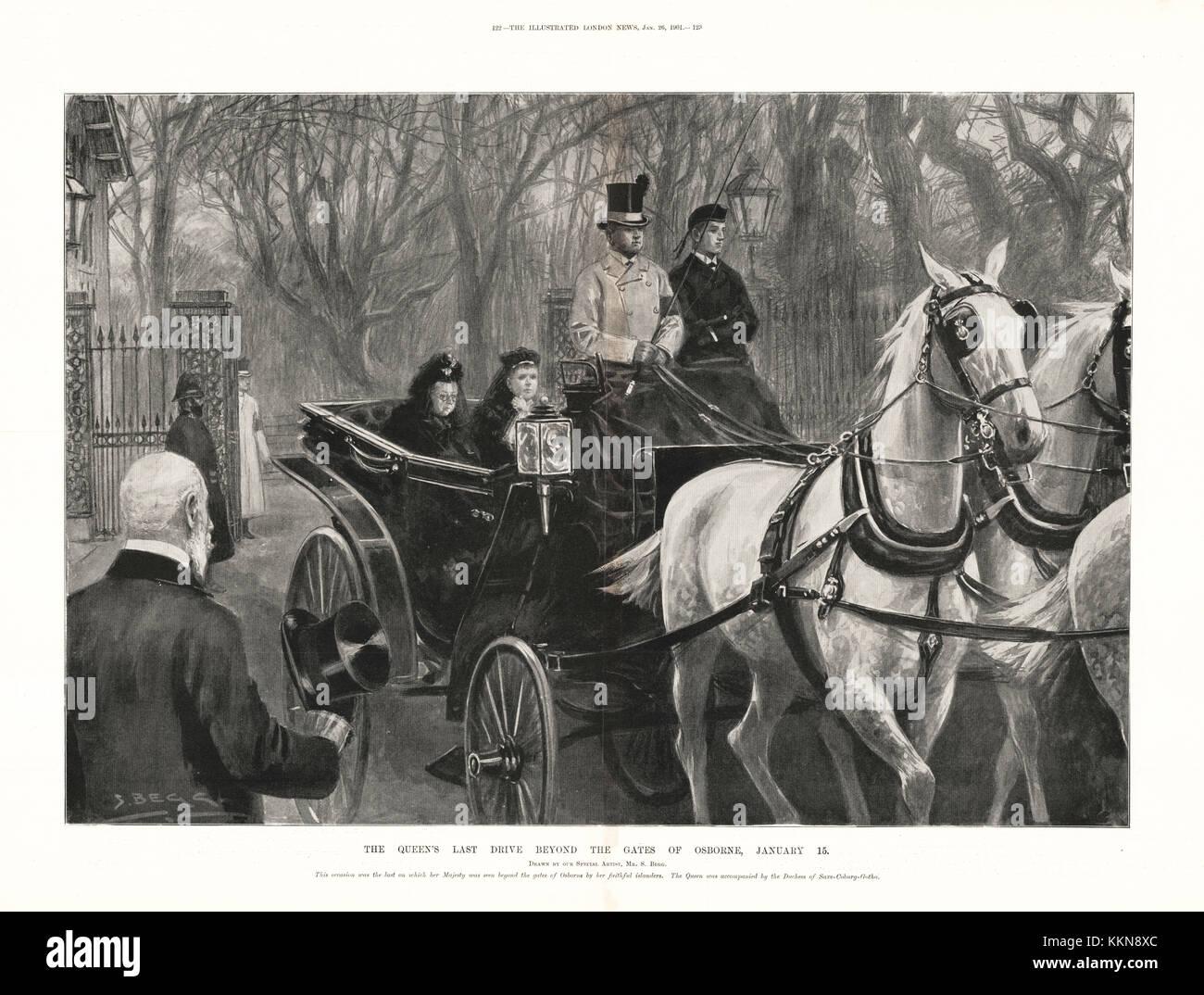 1901 ILN Queen Victoria's last drive from Osbourne HouseStock Photo