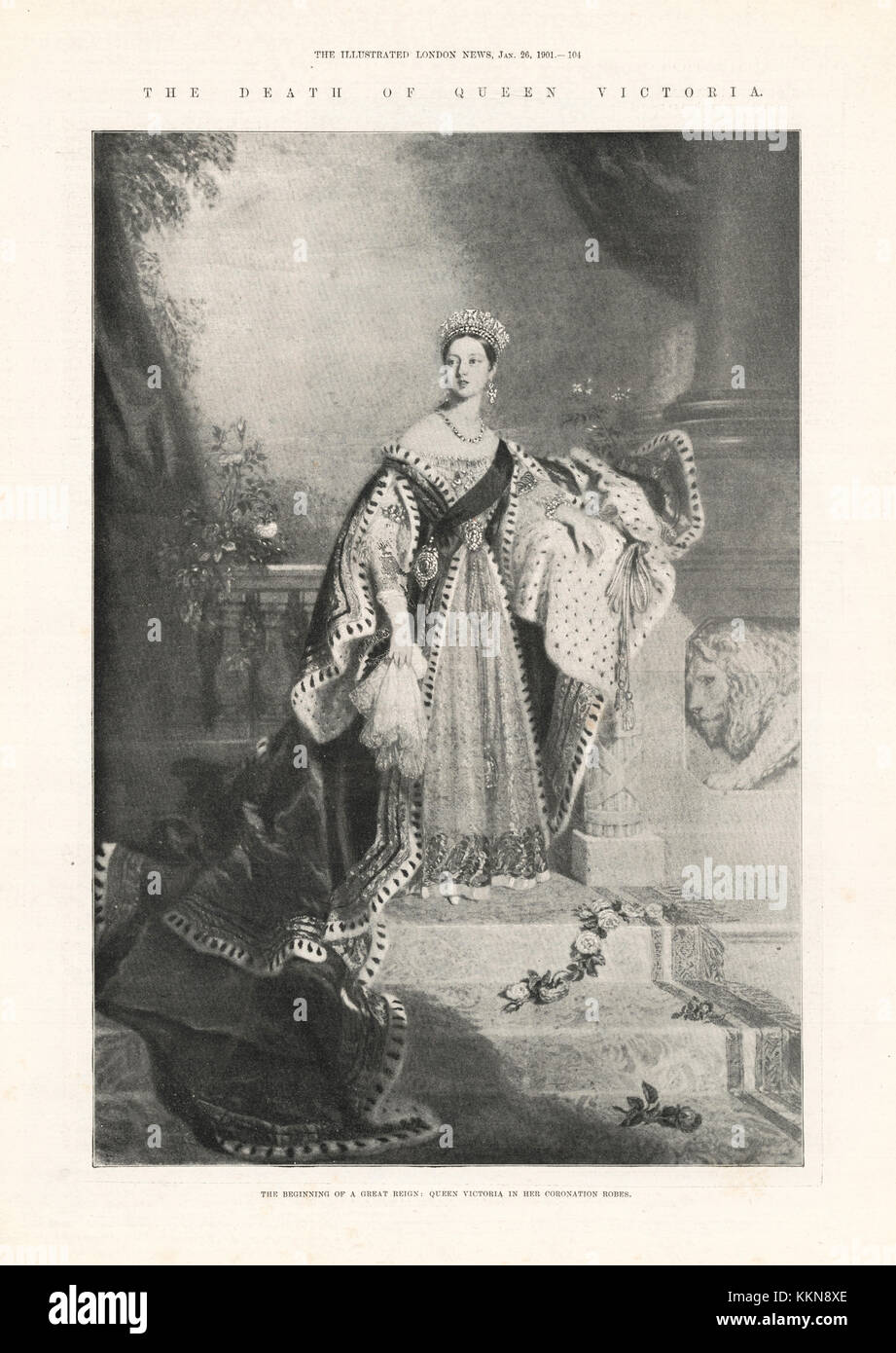 1901 Illustrated London News Queen Victoria in her Coronation robes, 1838 - Stock Image