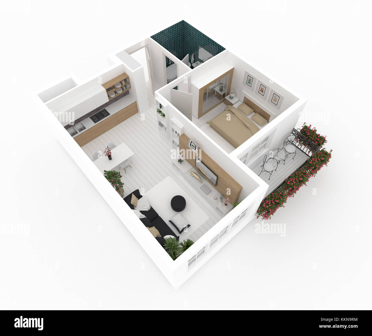 Plan of furnished home apartment - Stock Image