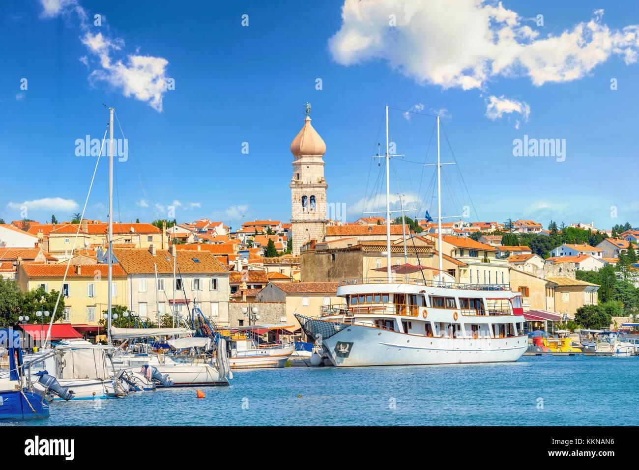 View of mediterranean coastal old town Krk, Island Krk, Croatia - Stock Image