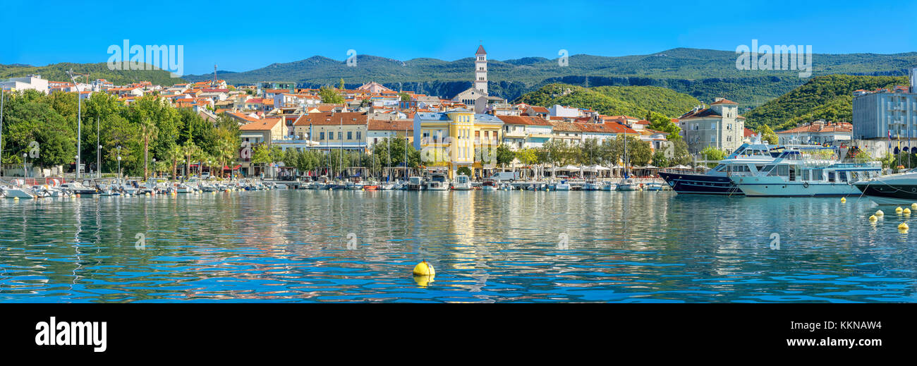 Panoramic view of mediterranean coastal town Crikvenica. Istria, Croatia - Stock Image