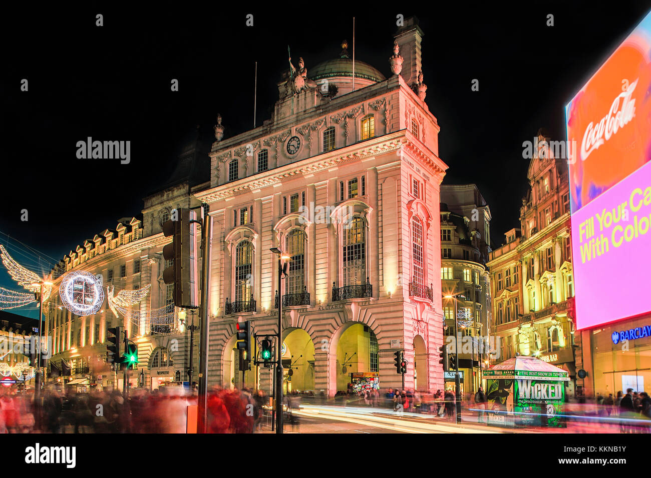 London, Christmas lights on Piccadilly circus and Regent Street - Stock Image