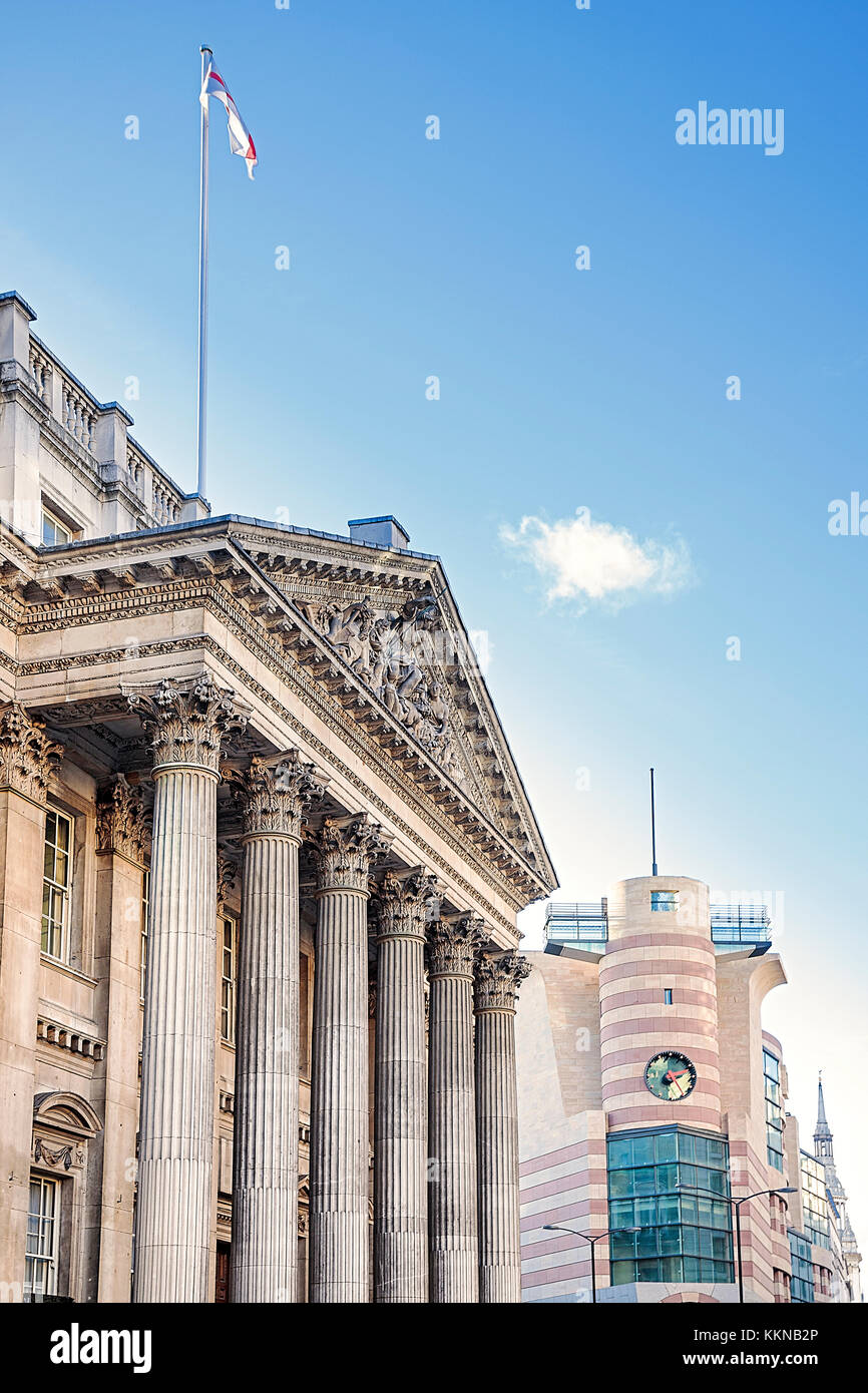 England, London, Bank Junction, Mansion House, home to the Lord Mayor of London with James' Stirling's No.1 - Stock Image