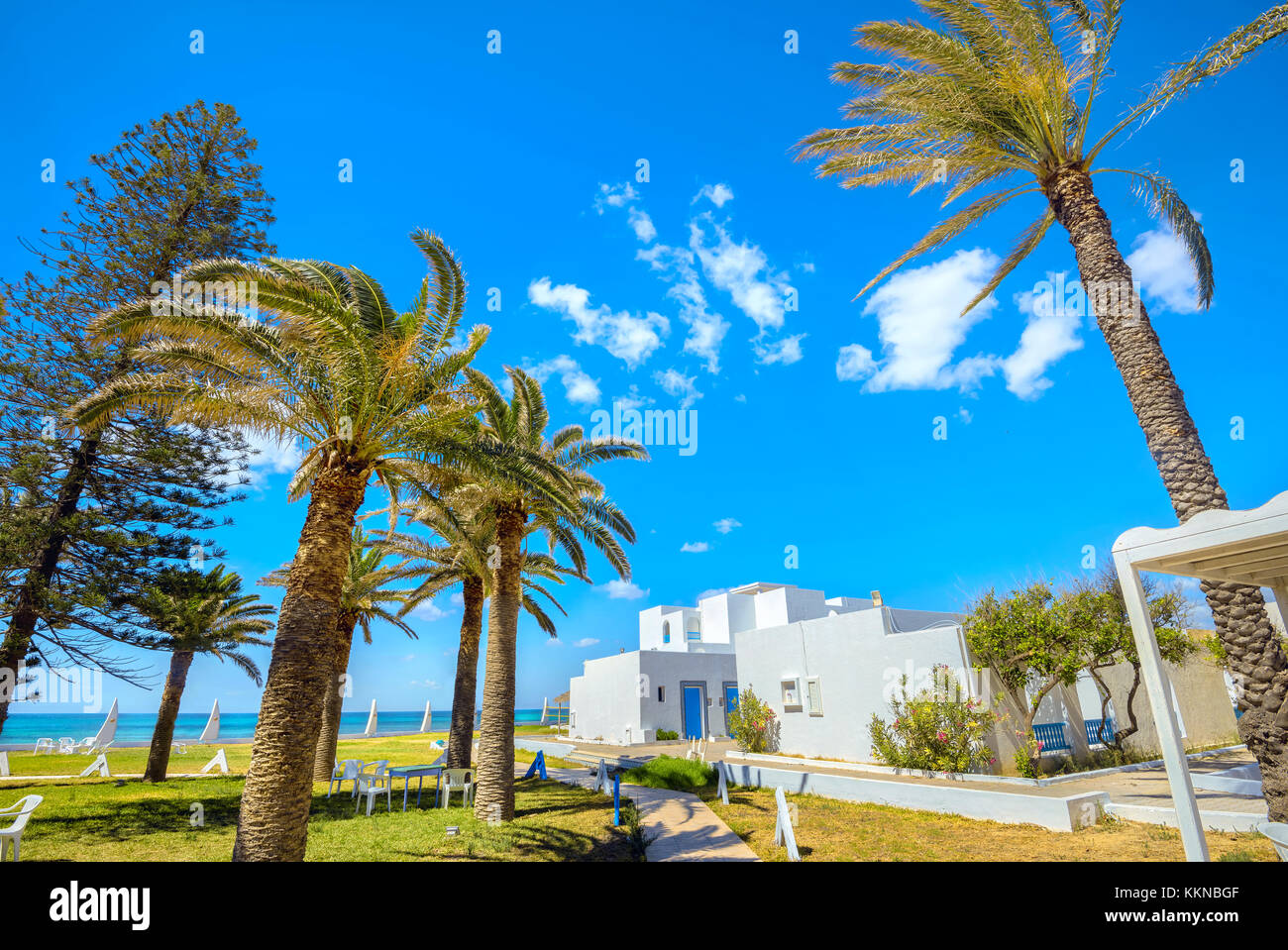 Shoreline of seaside resort in Nabeul. Tunisia, North Africa - Stock Image