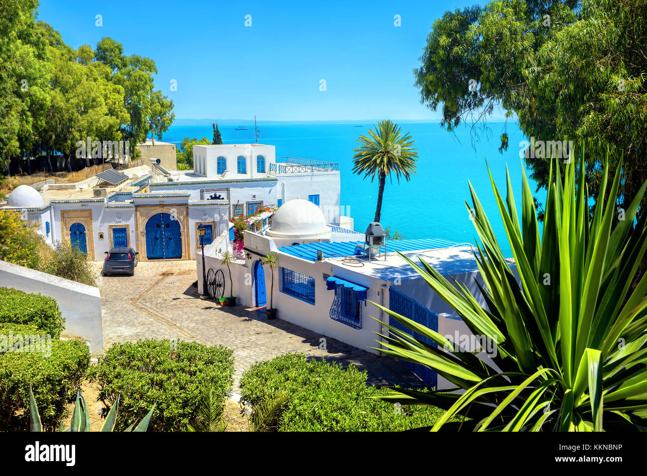 View of seaside resort  Sidi Bou Said. Tunisia, North Africa Stock Photo