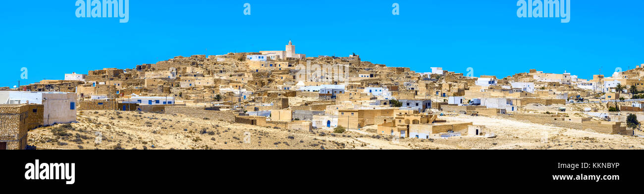 Panoramic view of  berber village Tamezret in Tunisia. North Africa Stock Photo