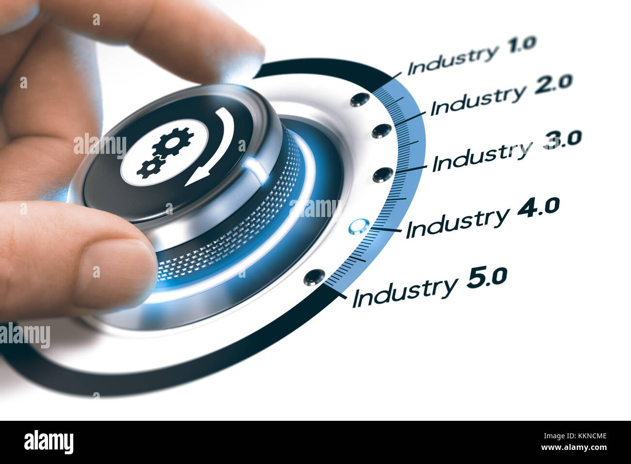 Hand turning a knob with gears icon over white background. Concept of industrial revolutions steps and industry - Stock Image