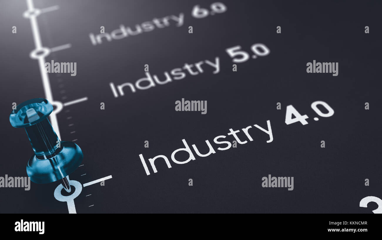 3D illustration of black paper with the text industry 4.0, 5.0 and 6.0 and a blue pushpin. Concept of futures industrial - Stock Image