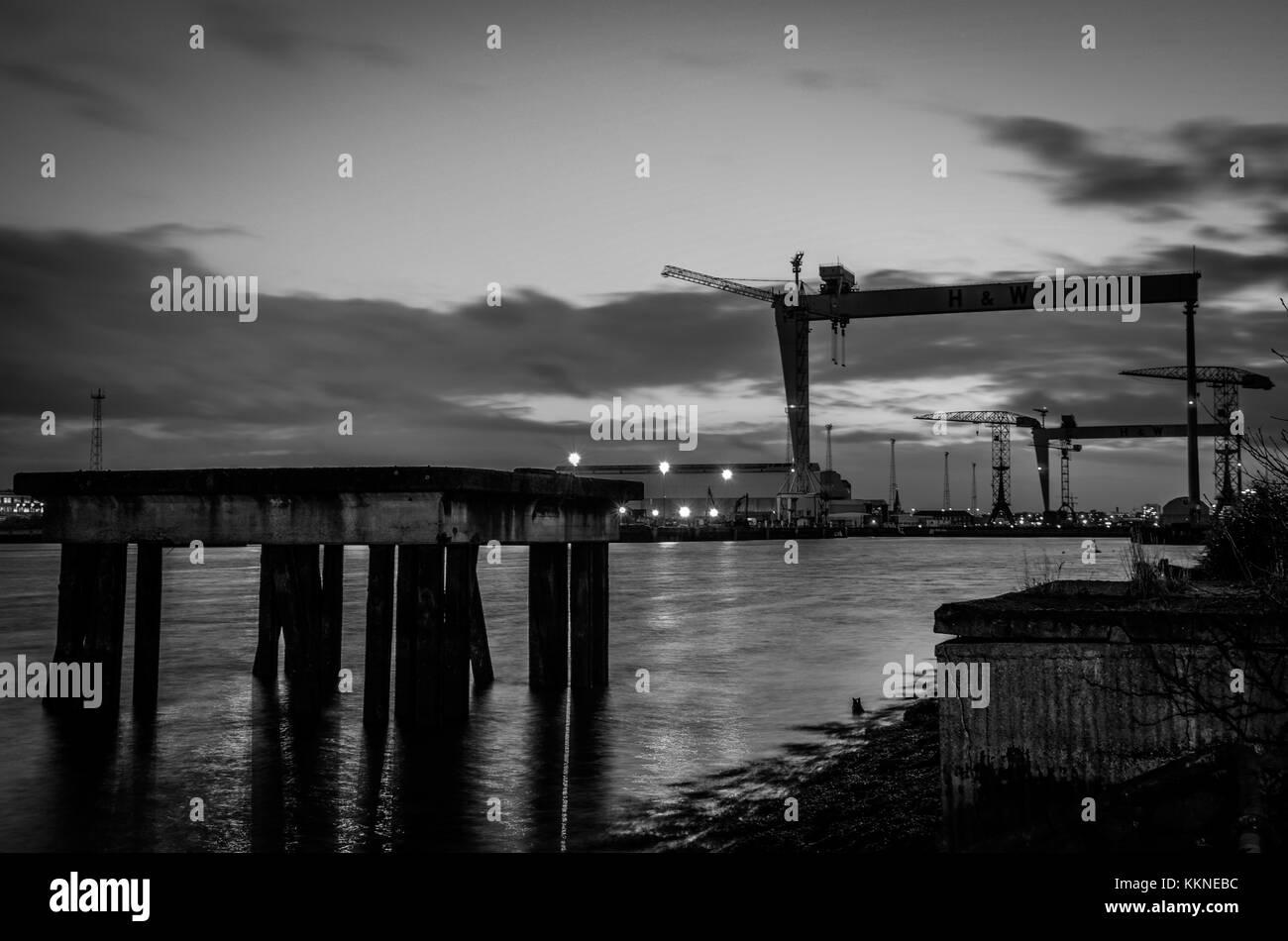 Belfast Night - Stock Image