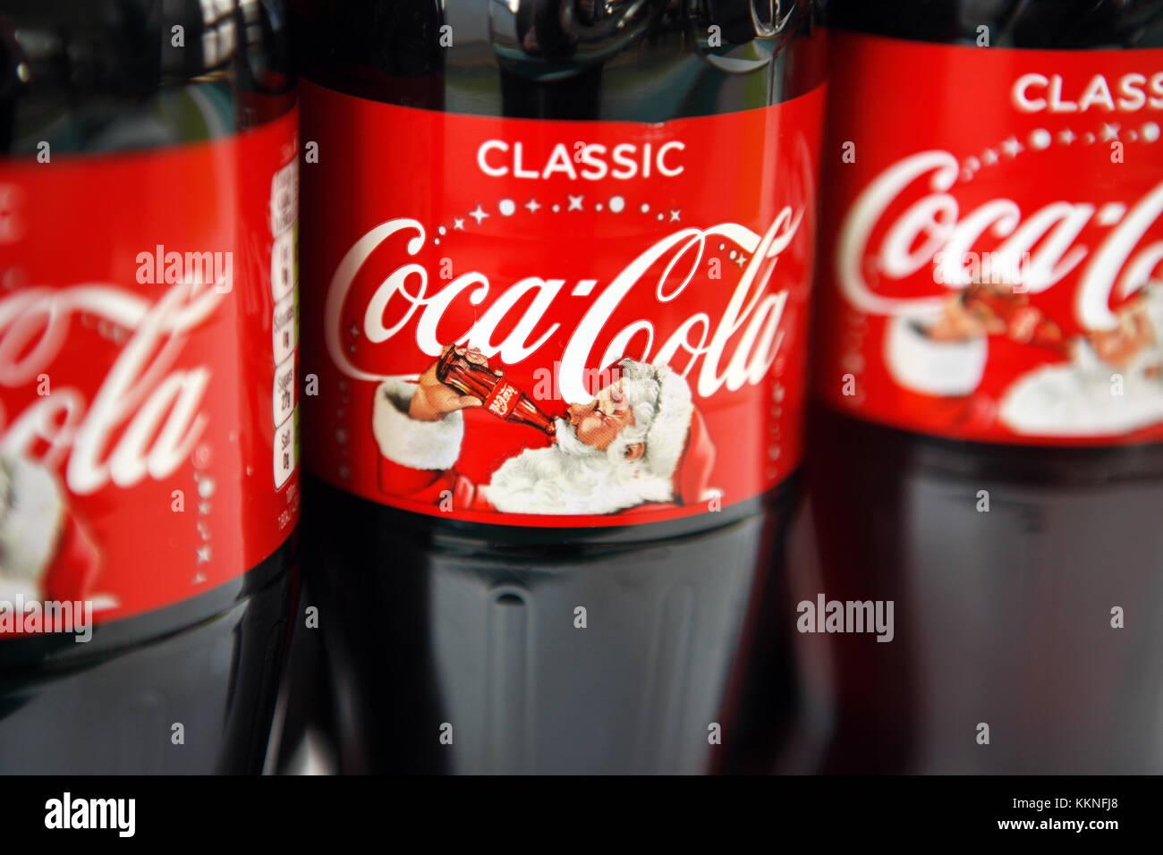 Coca Cola Christmas Bottle.Coca Cola Christmas Label Bottles Stock Photo 167045040 Alamy