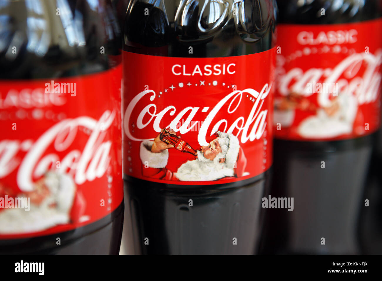 Coca Cola Christmas Bottle.Coca Cola Christmas Label Bottles Stock Photo 167045058 Alamy