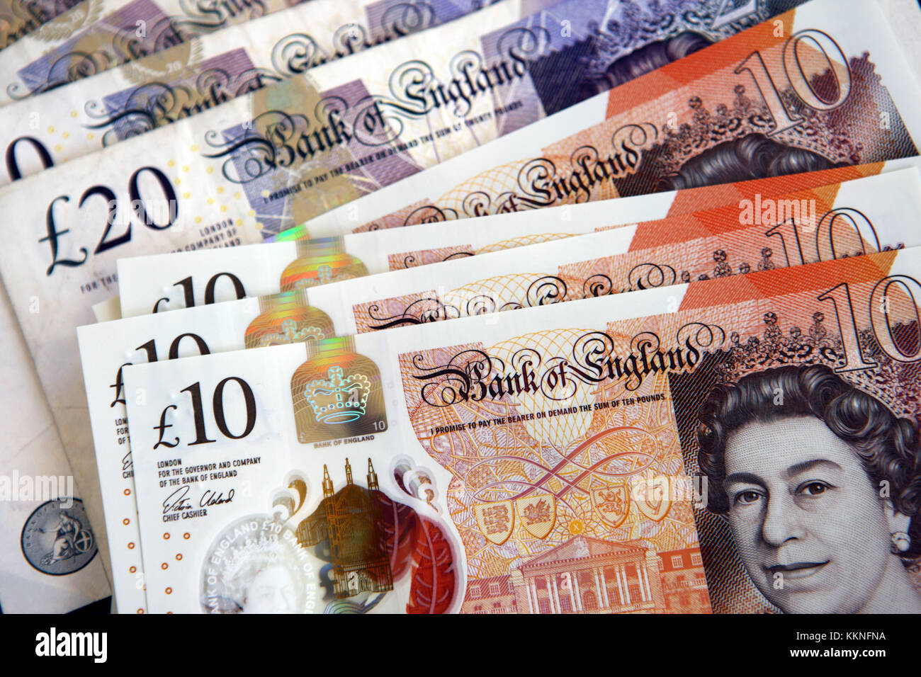 £10 and £20 pound Bank of England notes - Stock Image