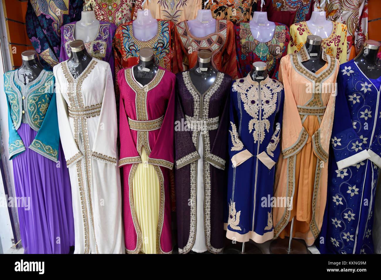 Oman Sur Traditional garments on sale at the Ladies' souk - Stock Image