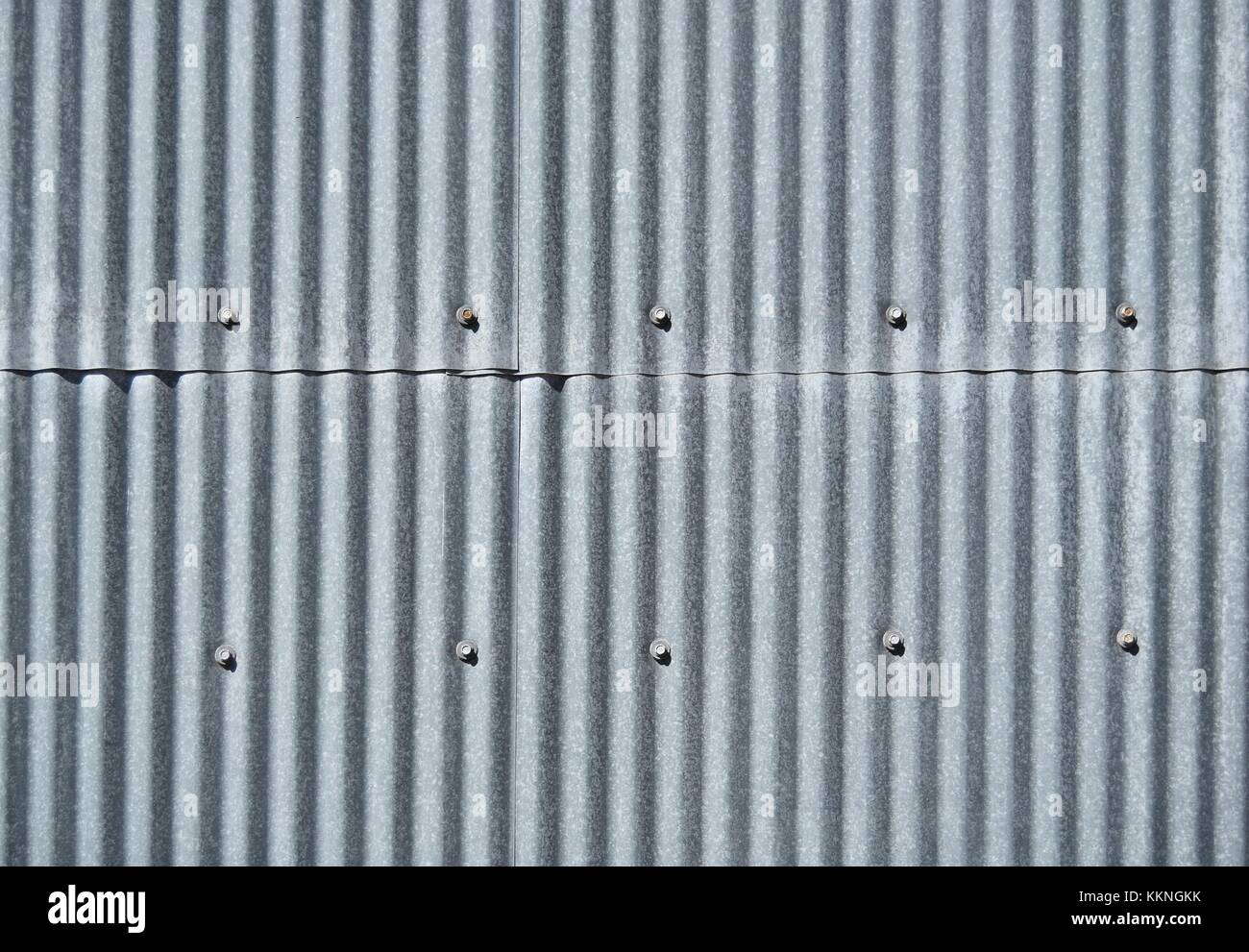 Old galvanized sheet texture background vertical with screws - Stock Image