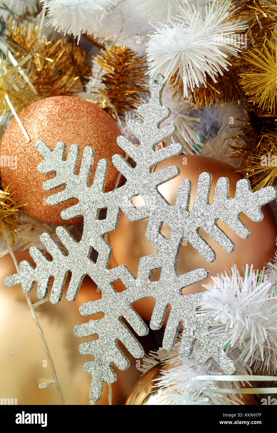 Silver Glitter Snowflake Shaped Christmas Ornament With Many Gold Stock Photo Alamy