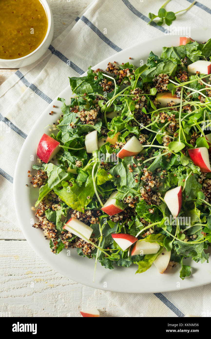 Raw Healthy Organic Kale and Apple Salad with Quinoa and Dressing - Stock Image