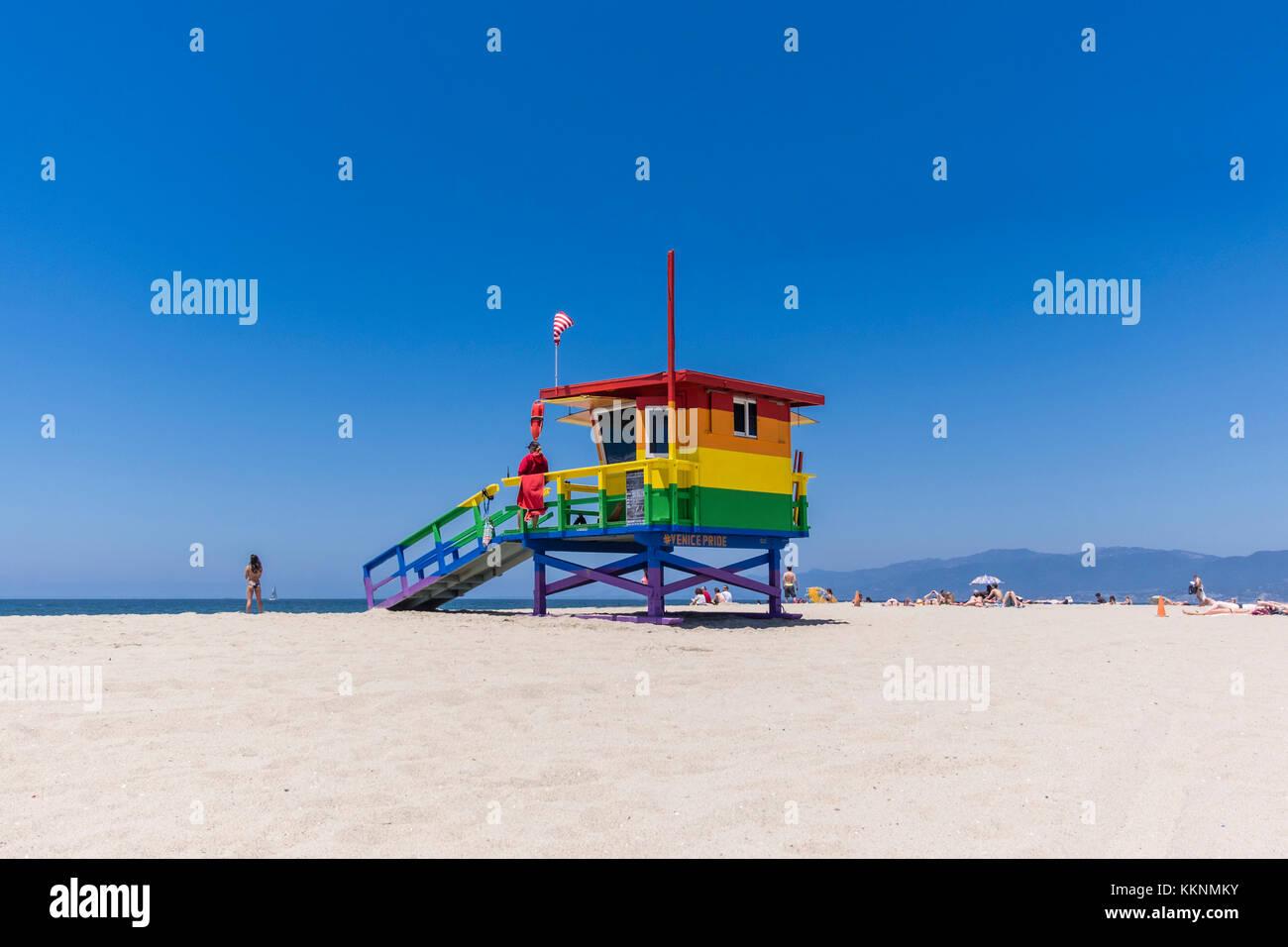 Lifeguard Tower with Rainbow colors, Venice Beach, Los Angeles, California, USA - Stock Image