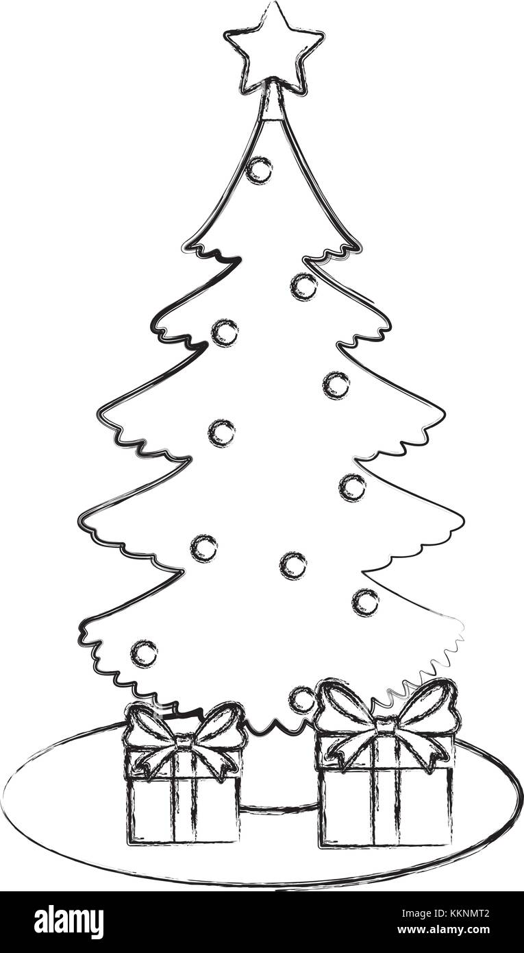 Abstract Christmas Tree Black and White Stock Photos & Images - Page ...