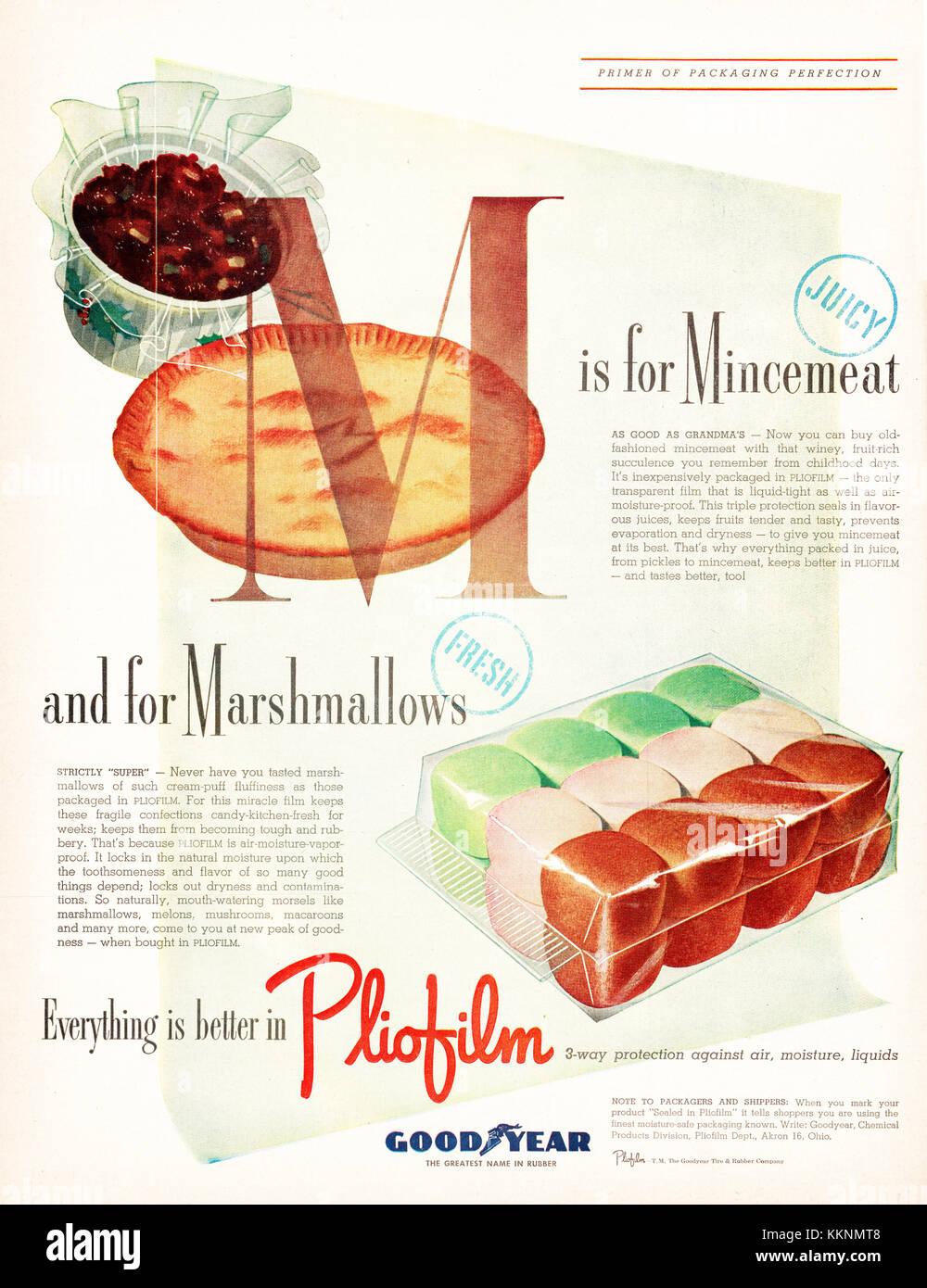 1947 U S  Magazine Pliofilm Packaging Advert Stock Photo: 167049128