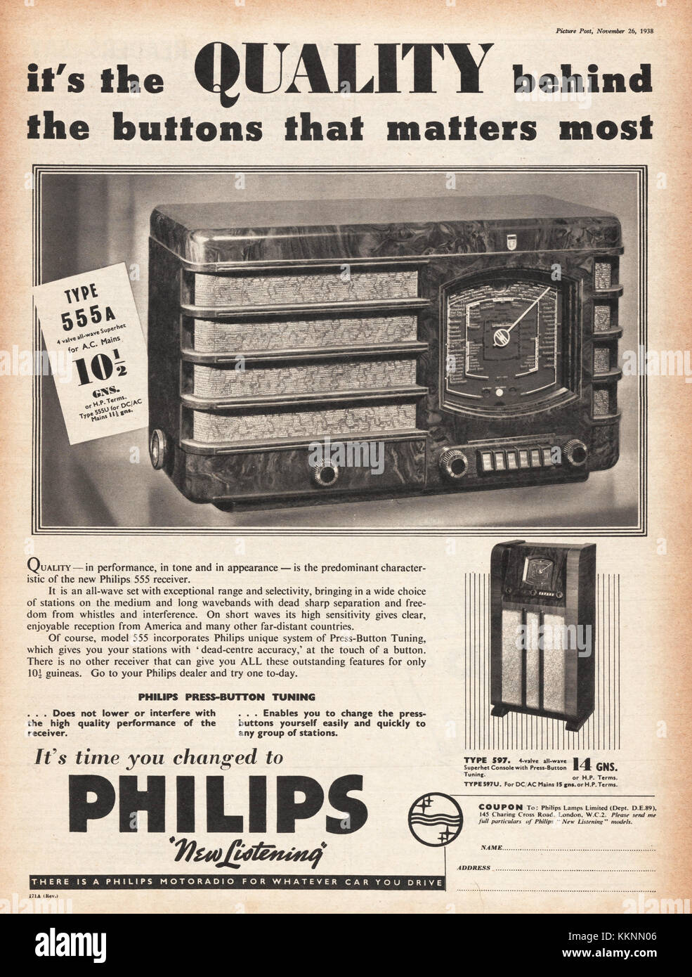 1938 UK Magazine Philips Radior Advert - Stock Image