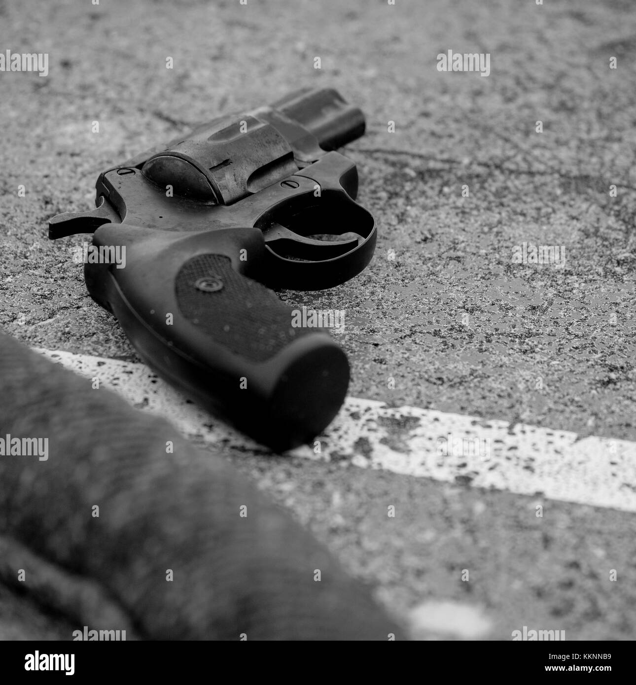 Gun laying on a table, Meillerie, france Stock Photo