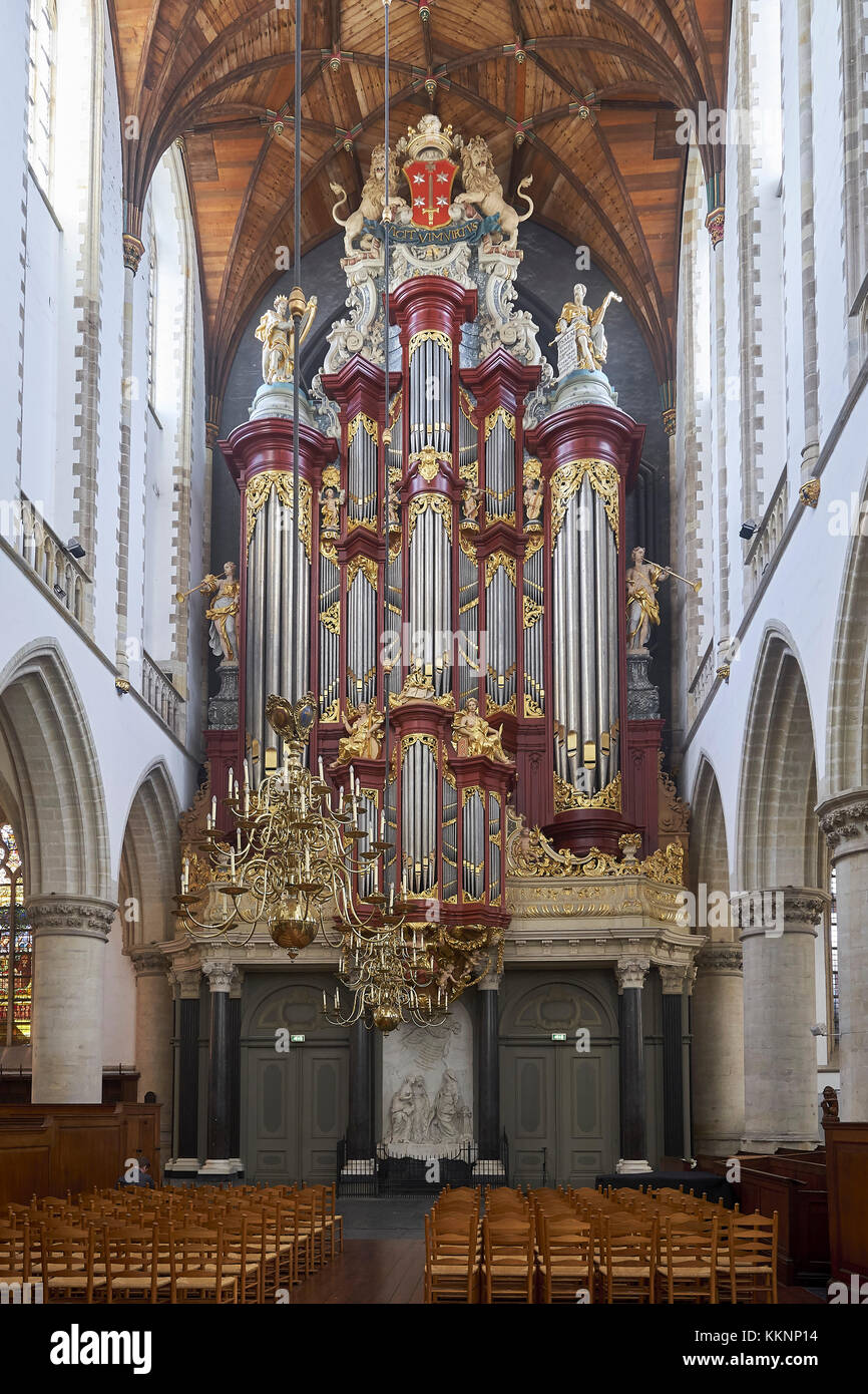 The Great or St. Bavo church with Mueller organ, Haarlem, North Holland, Netherlands - Stock Image
