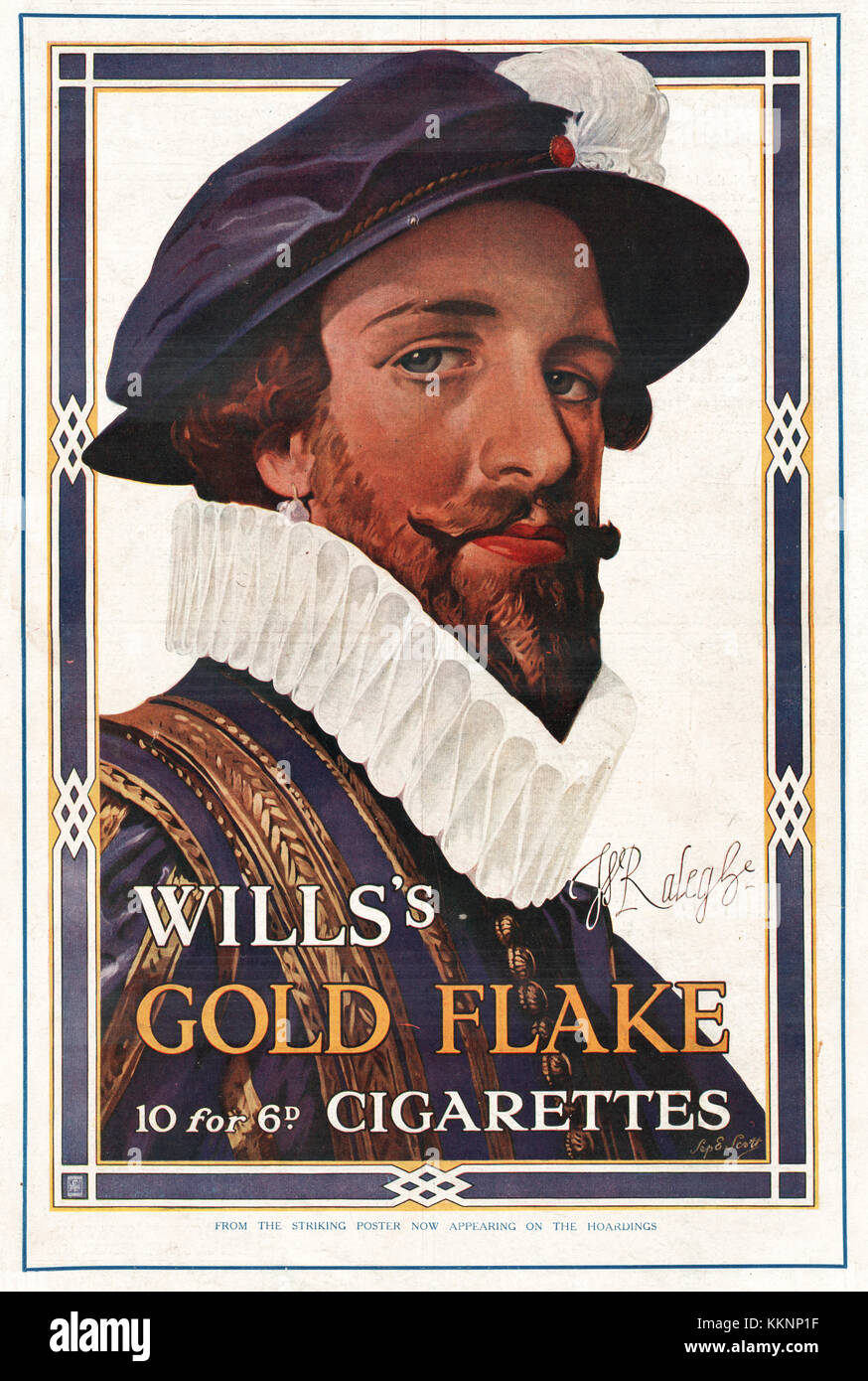 1924 UK Magazine Wills's Gold Flake Cigarette Advert - Stock Image
