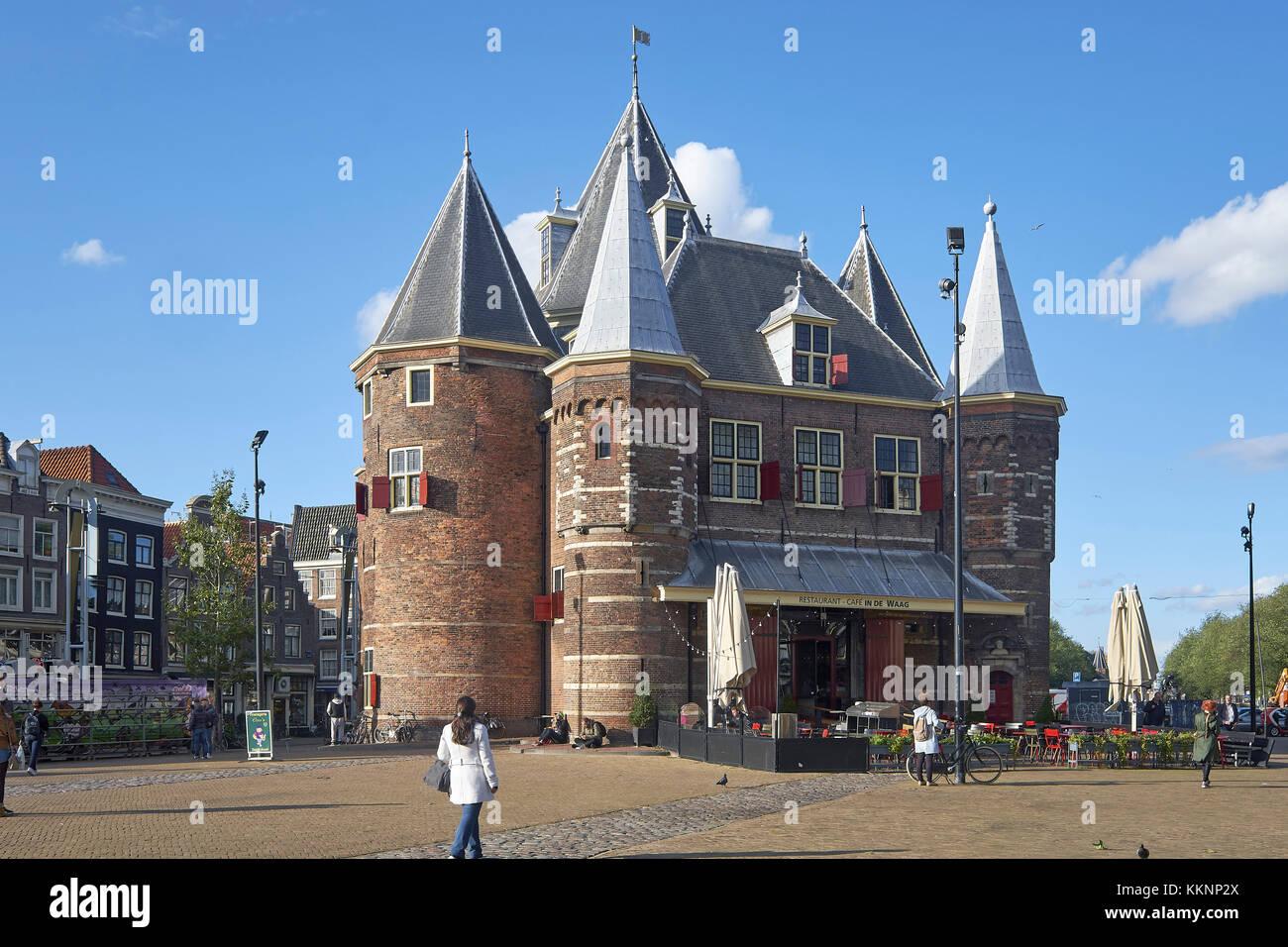 De Waag at Nieuwmarkt in Amsterdam, North Holland, Netherlands - Stock Image