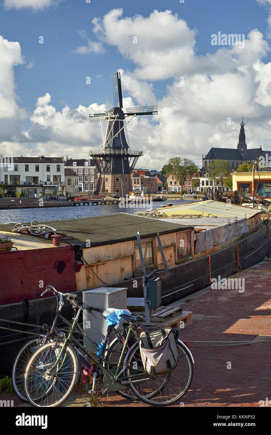 Adriaan windmill with houseboat in Haarlem, North Holland, Netherlands Stock Photo