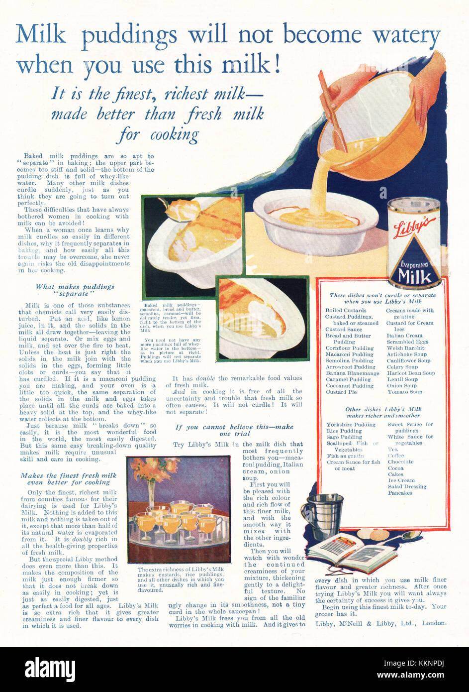 1924 UK Magazine Libby's Milk Advert Stock Photo: 167050398