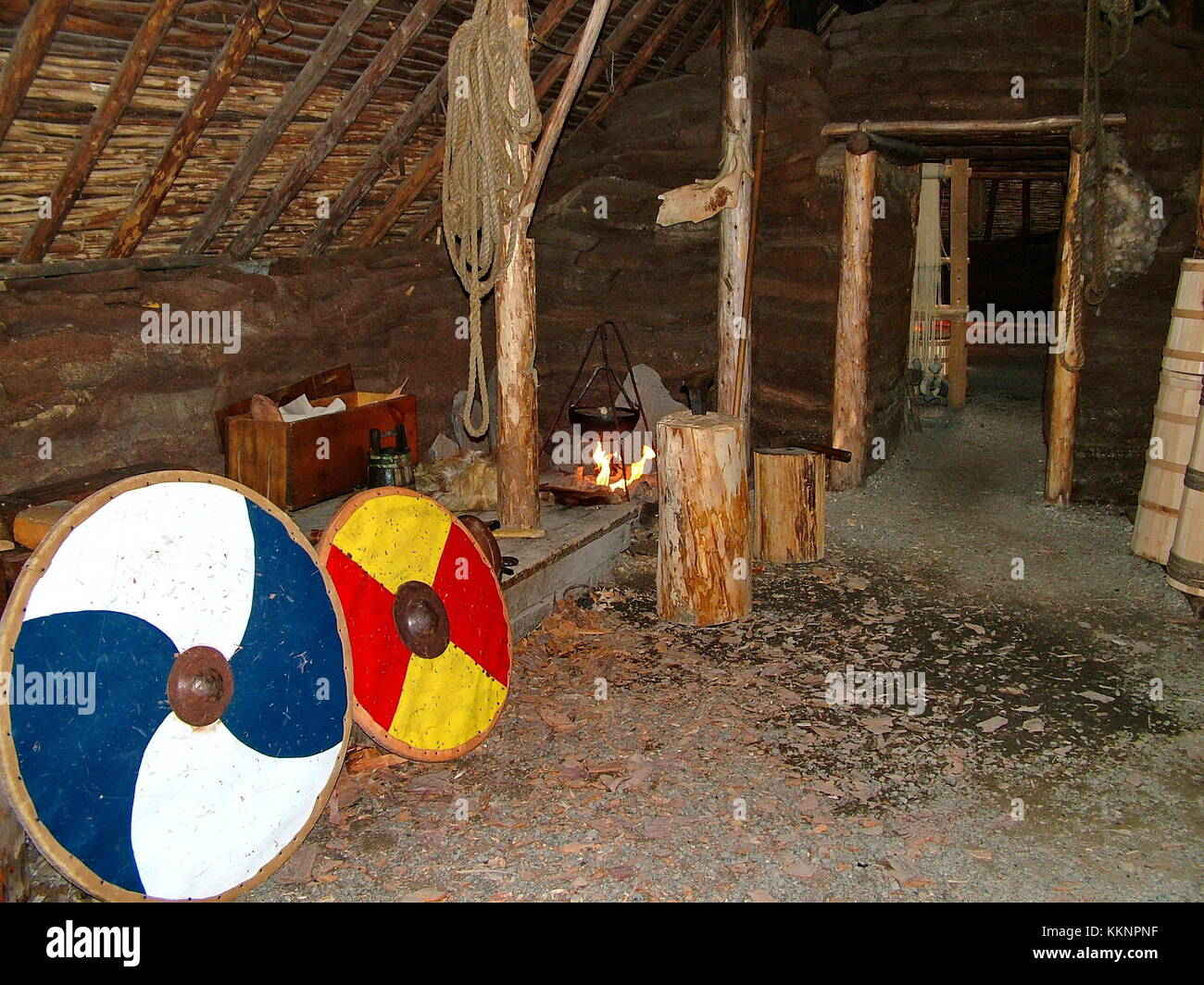 Newfoundland, CA:  L'Anse aux Meadows on June 24, 2011.  Re-creation of a Viking timber-and-sod-longhouse (interior). - Stock Image