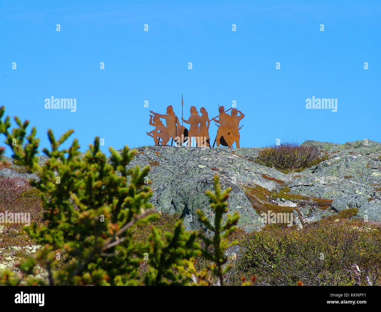 Newfoundland, CA, June 24, 2011: This iron sculpture at L'Anse aux Meadows evokes the arrival of the Norse 1000 - Stock Image