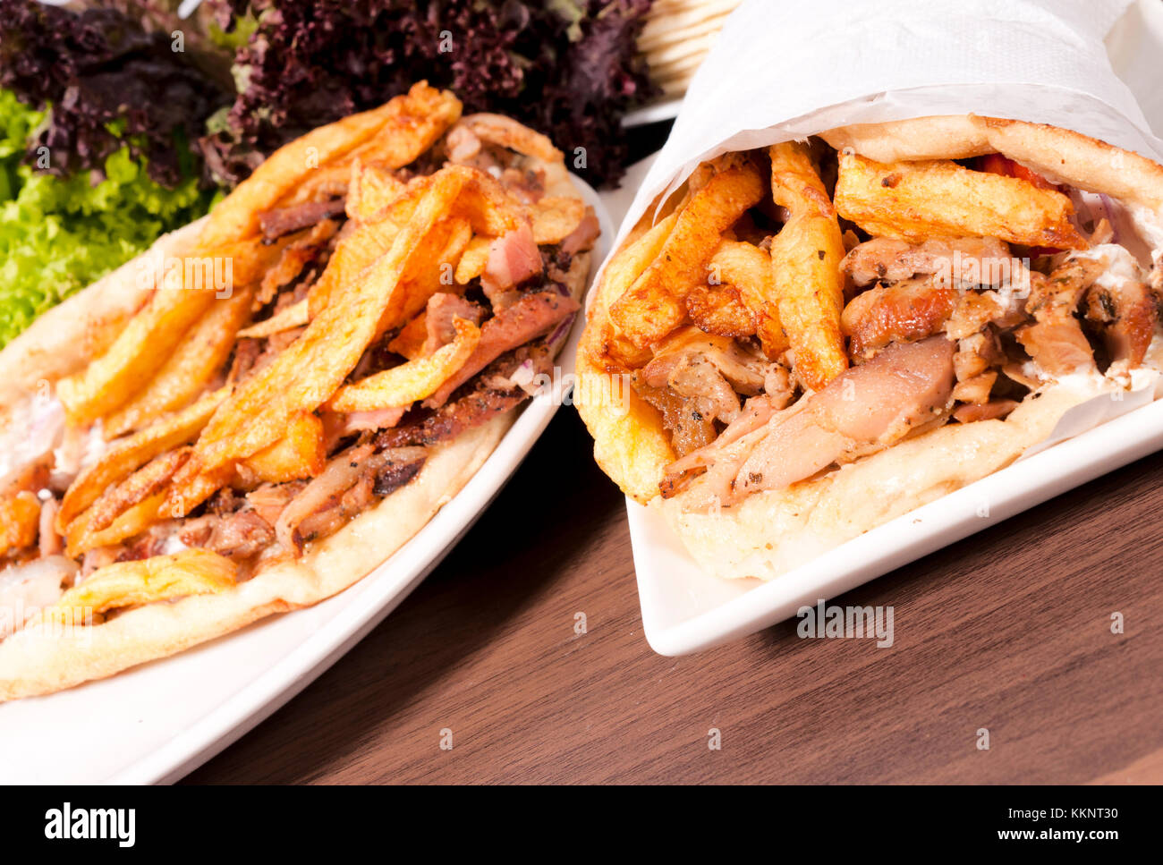 Portions of gyros on the table - Stock Image