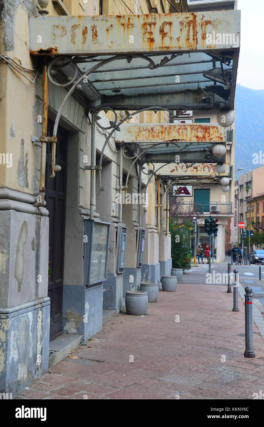The Italian town of Como at the Swiss border: an old cinema - Stock Image