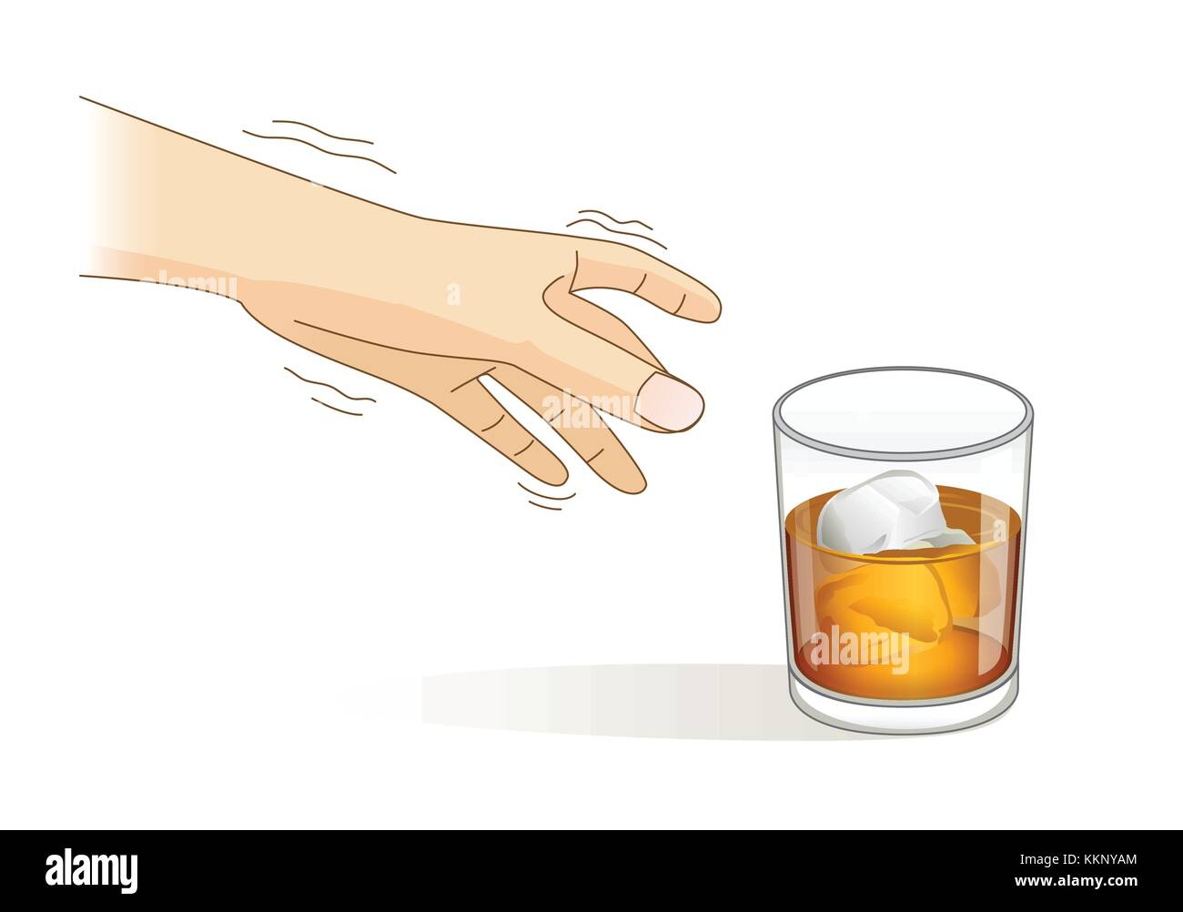 A Hand have tremor symptom while reaching for a glass of liqueur. - Stock Image