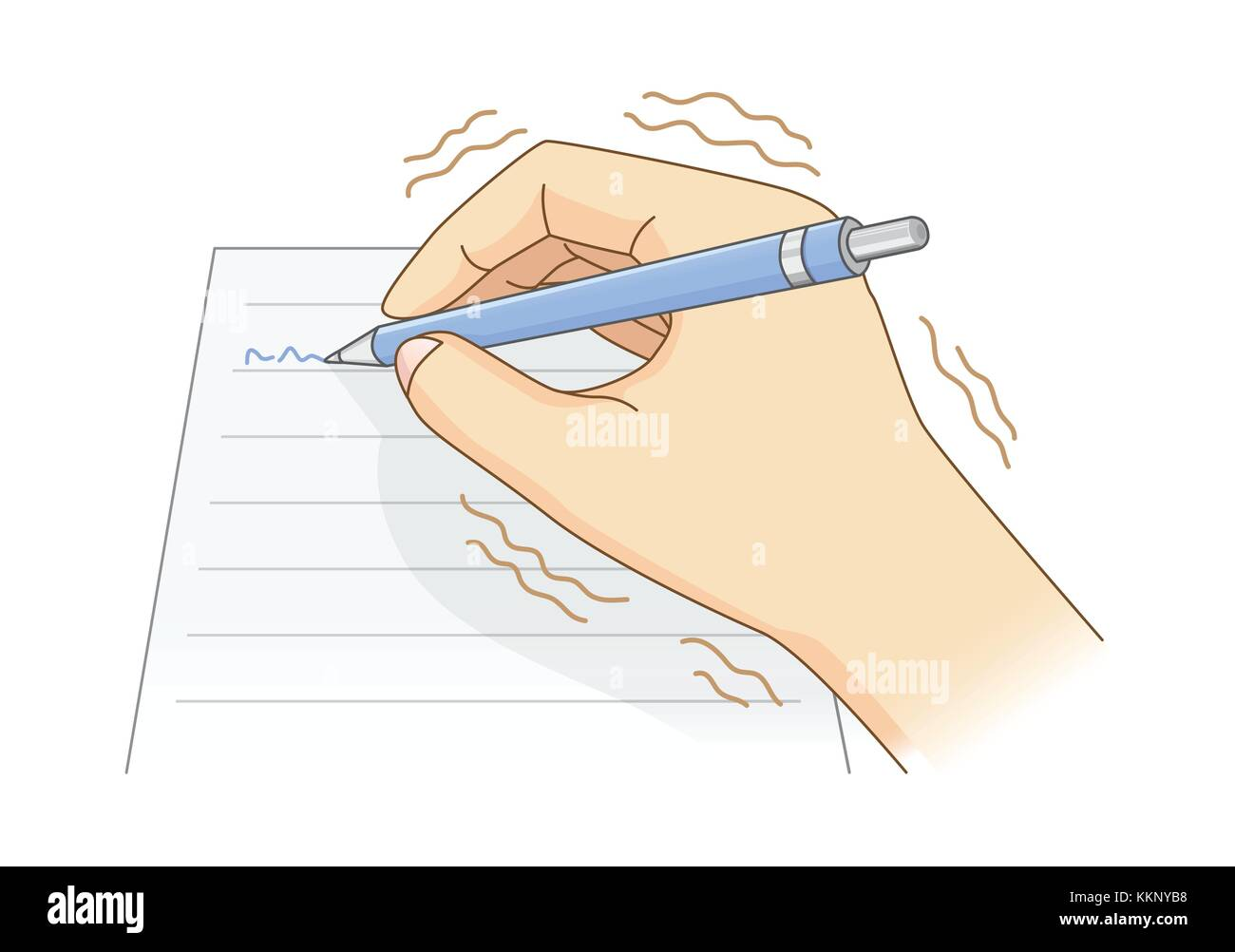 Hand have tremor symptom while writing with a pen. - Stock Image
